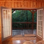 Hillside Cabin - Double doors to patio.